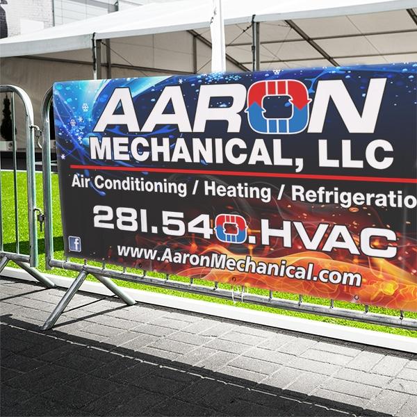 A custom banner on a roadside stand