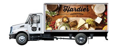 Printed graphics on a box truck