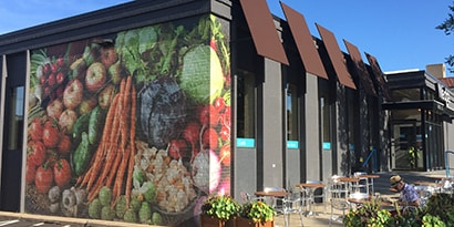 Exterior graphics on a restaurant wall