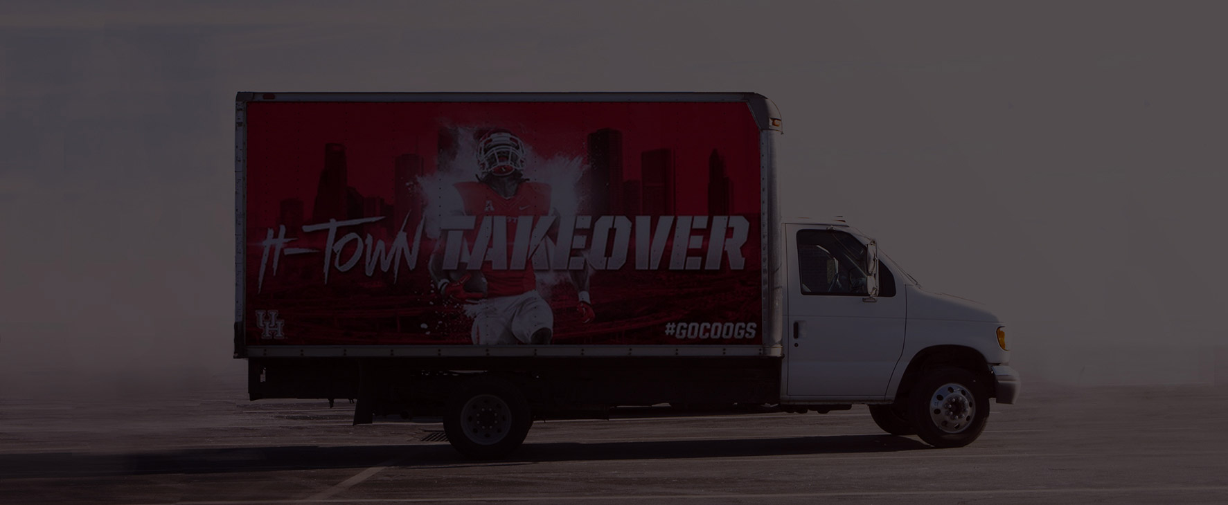 a truck with advertising on the side